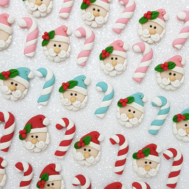 Clay Charm Embellishment - Santa candycane - Crafty Mood