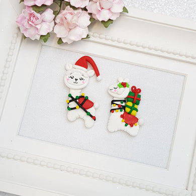 Clay Charm Embellishment - llama christmas Delight - Crafty Mood