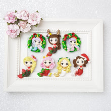 Load image into Gallery viewer, Christmas Mermaid Big Eyes - Embellishment Clay Bow Centre - Crafty Mood