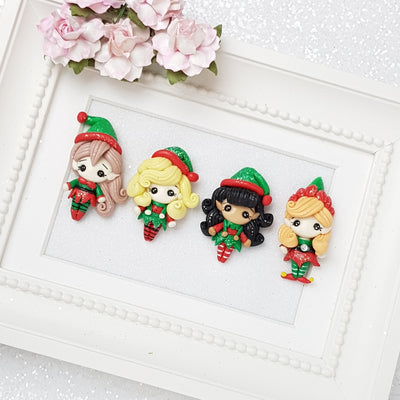 elf - bow centre Clay Charm Embellishment - Crafty Mood