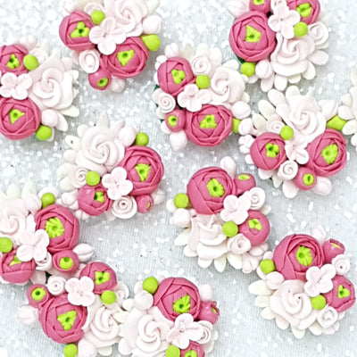 flower cluster pink  - Handmade Flatback Clay Bow Centre - Crafty Mood