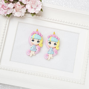 Clay Charm Embellishment - Rainbow Girl Big Eyes - Crafty Mood