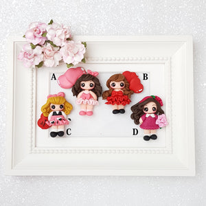 Valentine girls - Handmade Flatback Clay Bow Centre - Crafty Mood