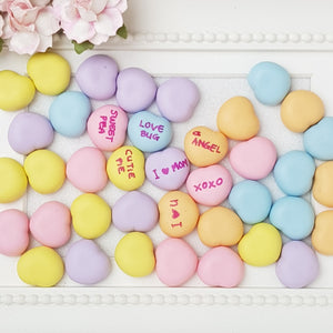 Set of 2 Candy heart write your own message - Handmade Flatback Clay Bow Centre - Crafty Mood