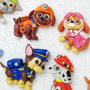 Officer dog - set of 8 - Handmade Flatback Clay Bow Centre - Crafty Mood