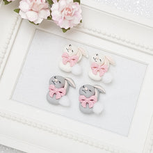Load image into Gallery viewer, Cute cotton bunny - Handmade Flatback Clay Bow Centre - Crafty Mood
