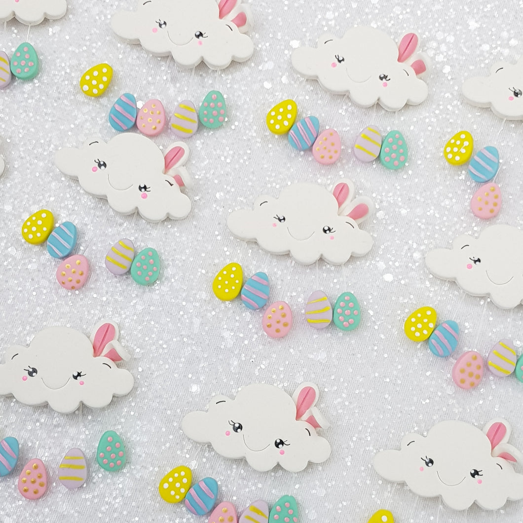 Cute Bunny Easter Clouds pastel - Handmade Flatback Clay Bow Centre - Crafty Mood