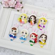 Pretty Dressing Up Easter Girls - Handmade Flatback Clay Bow Centre - Crafty Mood