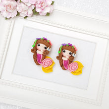 Load image into Gallery viewer, Cute mermaid with flowers - Handmade Flatback Clay Bow Centre - Crafty Mood