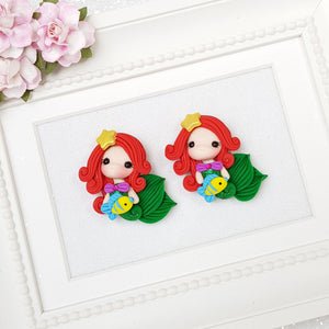 Cute mermaid with yellow fish - Embellishment Clay Bow Centre - Crafty Mood