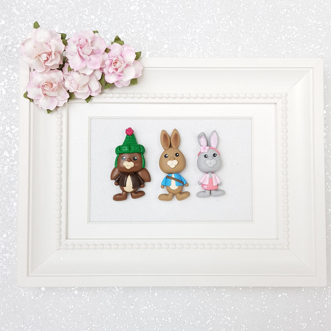 Rabbit and friends - Handmade Flatback Clay Bow Centre - Crafty Mood