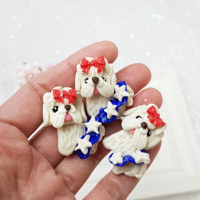 Cute white dogs with bow - Handmade Flatback Clay Bow Centre - Crafty Mood