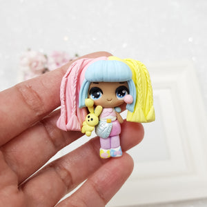 Cute rainbow girl - Embellishment Clay Bow Centre - Crafty Mood