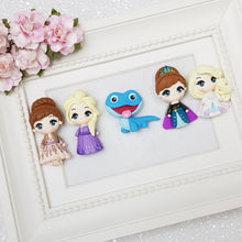 Load image into Gallery viewer, Winter princess sibling - Handmade Flatback Clay Bow Centre - Crafty Mood