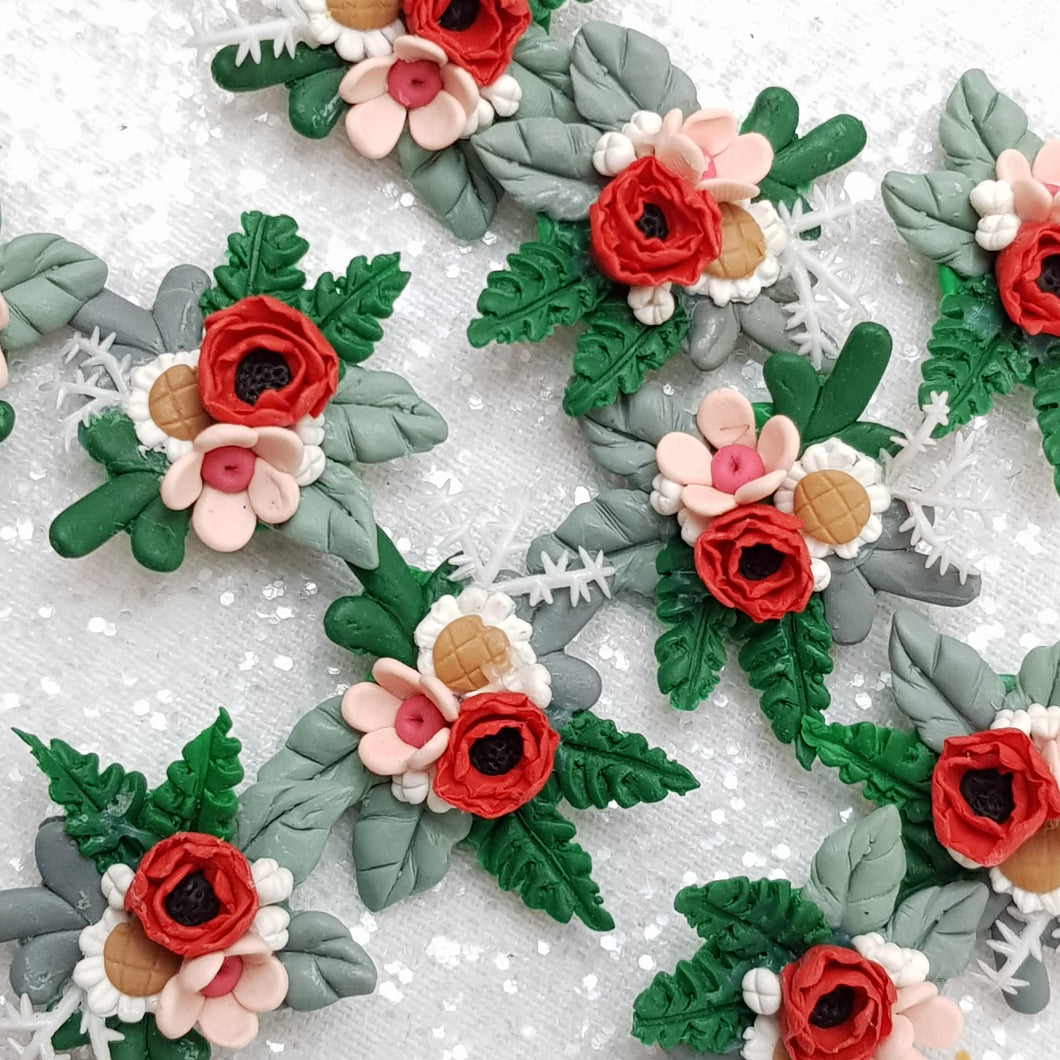 Early winter flower wreath - Embellishment Clay Bow Centre - Crafty Mood