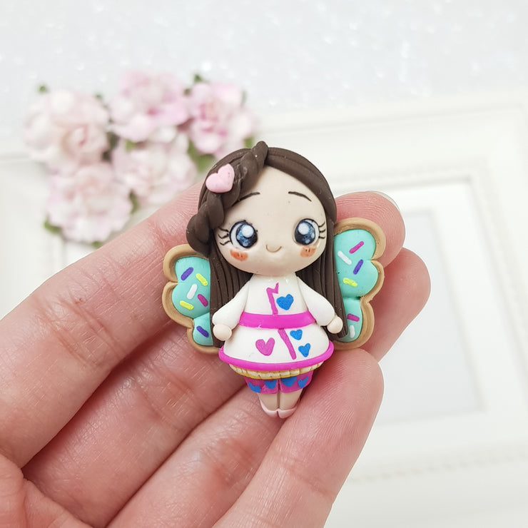 Butterfly girl - Handmade Flatback Clay Bow Centre - Crafty Mood
