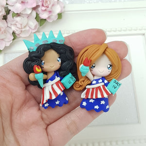 Fourth of July Girls - Handmade Flatback Clay Bow Centre - Crafty Mood