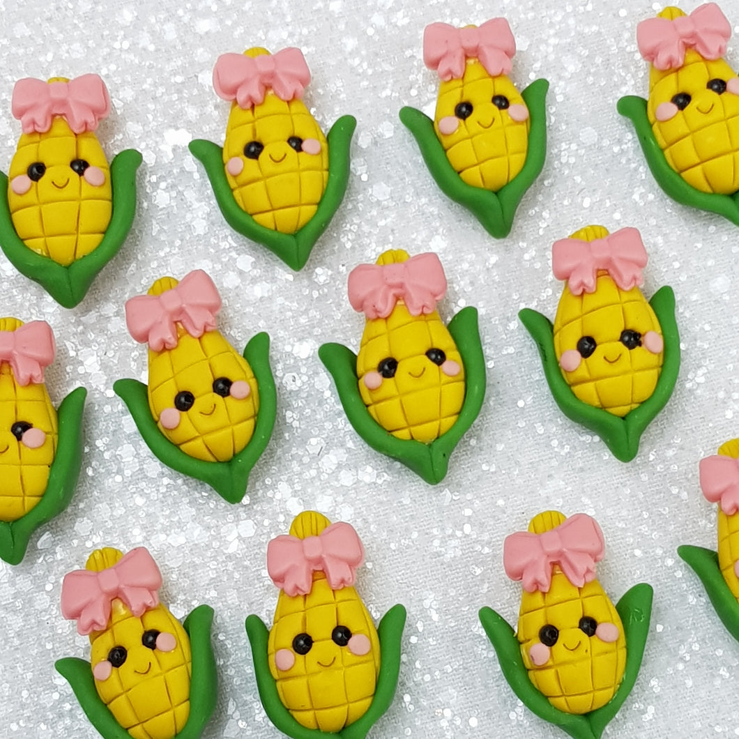 Corn with pink bow - Embellishment Clay Bow Centre - Crafty Mood