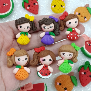 Cute Fruit Girls - Handmade Flatback Clay Bow Centre - Crafty Mood