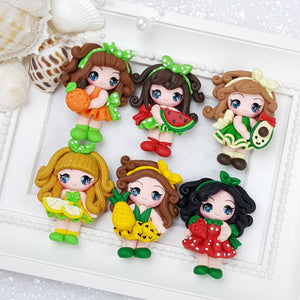 Summer Fruits Girls - Handmade Flatback Clay Bow Centre - Crafty Mood