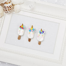 Load image into Gallery viewer, Unicorn Ice Cream - Handmade Flatback Clay Bow Centre - Crafty Mood