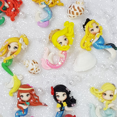 Pearly Mermaid Princess - Set of 15 - Handmade Flatback Clay Bow Centre - Crafty Mood