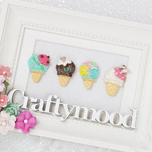 Load image into Gallery viewer, Summer Ice Cream Cone - Embellishment Clay Bow Centre