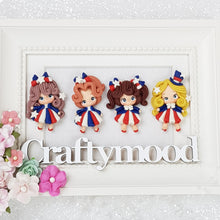 Load image into Gallery viewer, Cute USA Girls - Set of 4 - Embellishment Clay Bow Centre