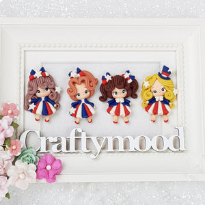 Cute USA Girls - Set of 4 - Embellishment Clay Bow Centre