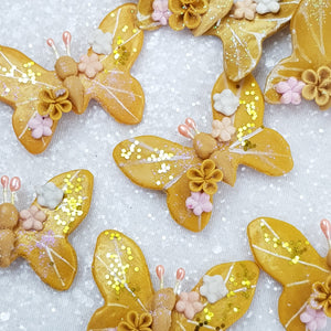 Golden Butterfly - Embellishment Clay Bow Centre