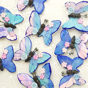 Blue Pink Butterfly - Handmade Flatback Clay Bow Centre