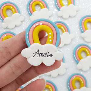 Personalised Rainbow Bridge Cloud  - Embellishment Clay Bow Centre