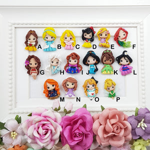Cute Little Princesses - Handmade Flatback Clay Bow Centre