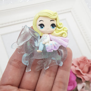 MAX 2 EACH style/ PERSON Winter princess riding ice horse - Handmade Flatback Clay Bow Centre