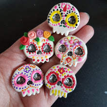 Load image into Gallery viewer, Design Your Own Candy Skull - Handmade Flatback Clay Bow Centre