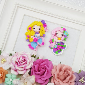Cute flower mermaid - Embellishment Clay Bow Centre