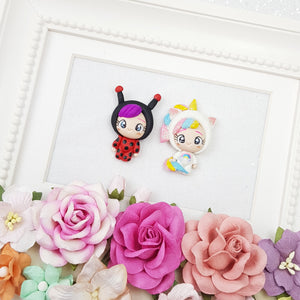 Dressing up ladybug and unicorn - Handmade Flatback Clay Bow Centre