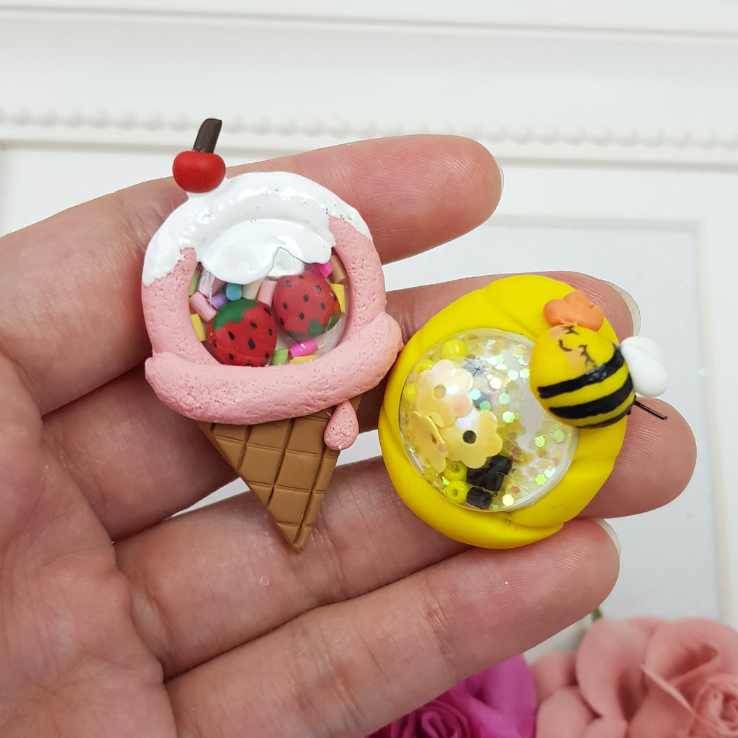 Bee and Ice Cream Summer Shaker - Handmade Flatback Clay Bow Centre