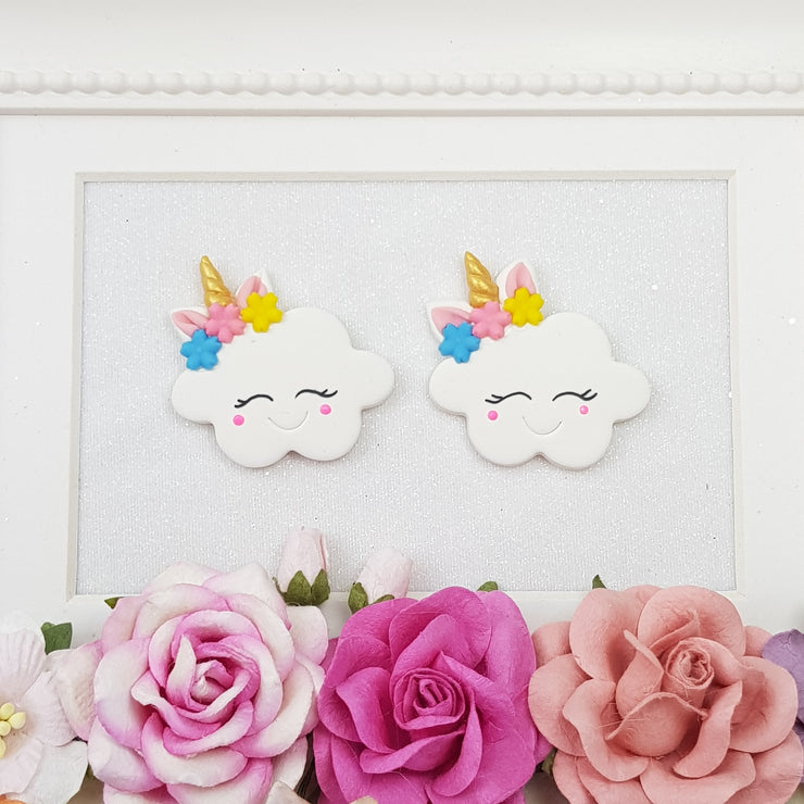 Smile Unicorn Cloud  - Embellishment Clay Bow Centre