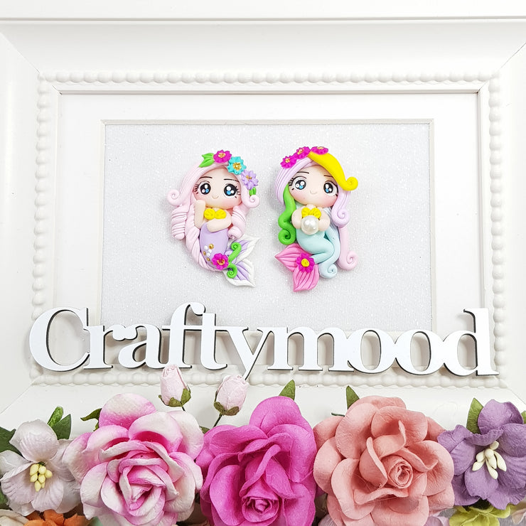 Adorable Big Eyes Mermaid - Embellishment Clay Bow Centre