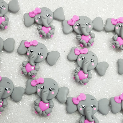 Adorable Elephant with Pink Bow - Embellishment Clay Bow Centre
