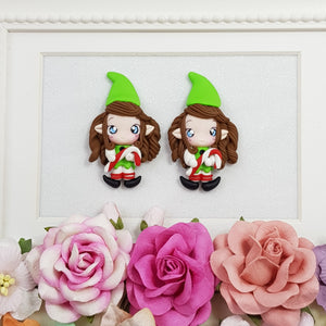 Adorable green hat elf - Embellishment Clay Bow Centre