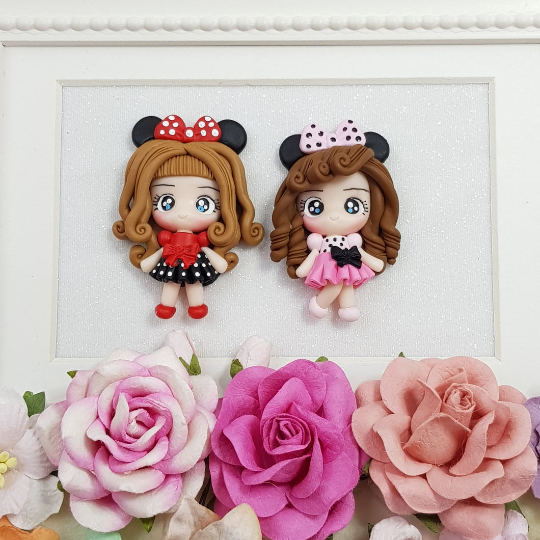 Cute polka dots Girls - Embellishment Clay Bow Centre