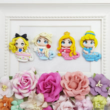 Load image into Gallery viewer, Princess on a tea cup - set of 5 - Handmade Flatback Clay Bow Centre
