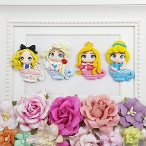 Princess on a tea cup - set of 5 - Handmade Flatback Clay Bow Centre
