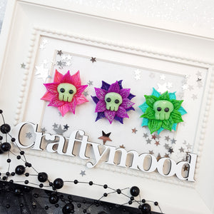 Halloween Flower- Glow in the dark - Embellishment Clay Bow Centre