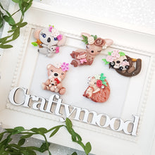 Load image into Gallery viewer, Spring Animals baby - Handmade Flatback Clay Bow Centre