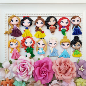 princess - set of 13 - Embellishment Clay Bow Centre