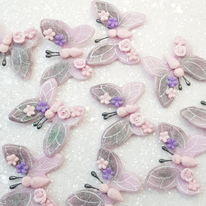 Galaxy Pink Butterfly - Handmade Flatback Clay Bow Centre