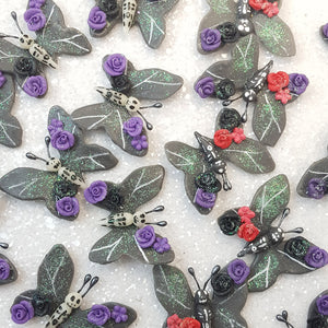 Halloween Black Butterfly - Embellishment Clay Bow Centre